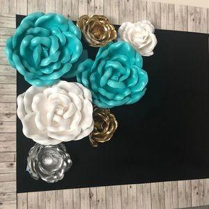Shabby Style Teal & Burlap Flowers Banner
